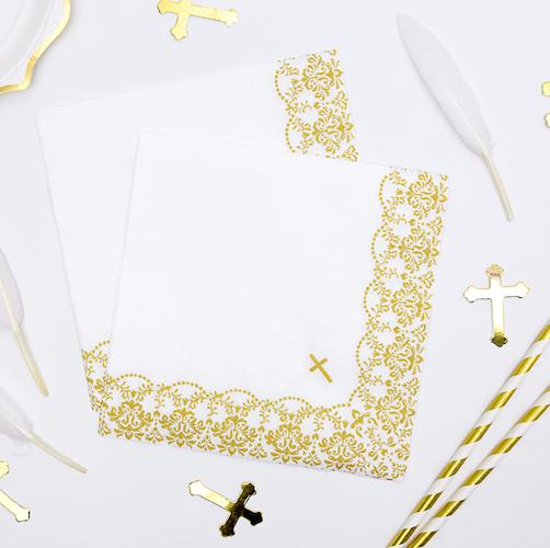 Papierové Servítky - Krížik - Zlatá (20ks)