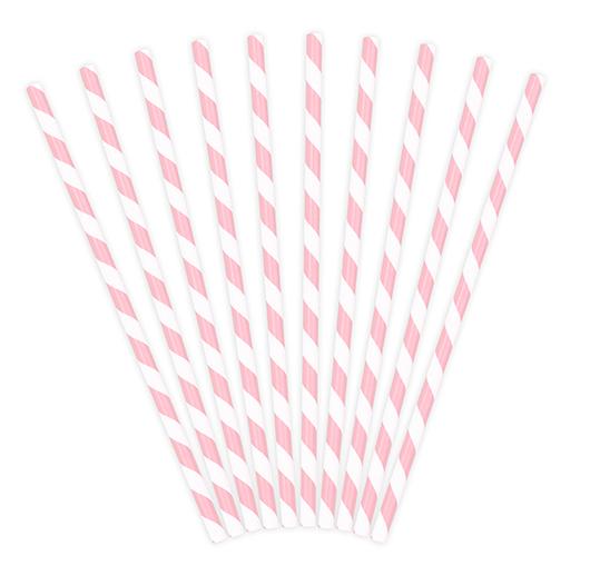 Papierové Slamky - Prúžky - Svetloružová (10ks)