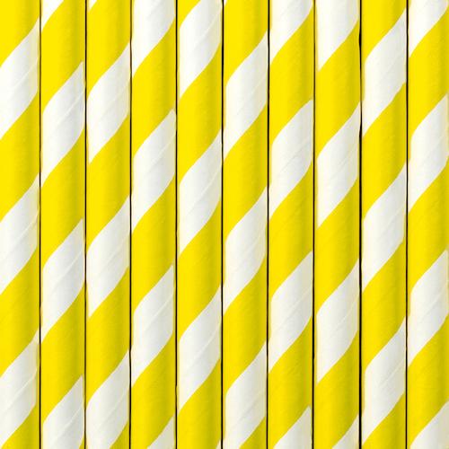 Papierové Slamky - Prúžky - Žltá (10ks)