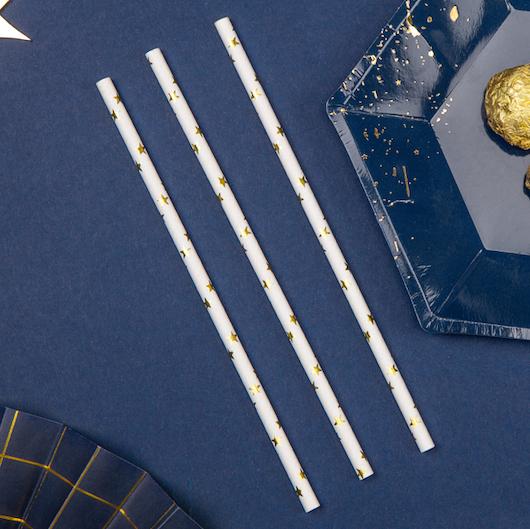 Papierové Slamky - Hviezdičky - Zlatá (10ks)