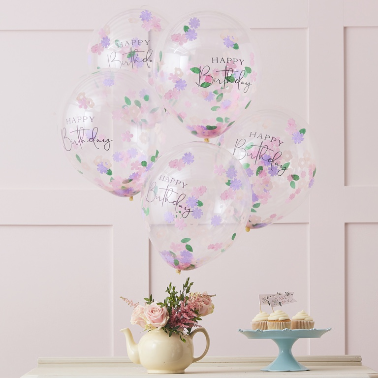 Konfetové Narodeninové Balóny - Kvietky (5ks)