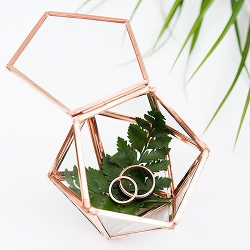Glass Geometric Terrarium Style Ring Box - Small - Pink Gold
