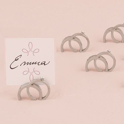 Double Ring with Crystal Place Card Holder