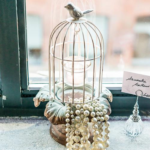 Svietnik - Kovová Vtáčia Klietka - Malá