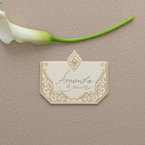 Art Deco Laser Embossed Place Cards - Ivory and Gold