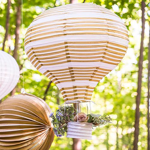 Teplovzdušný Balón - Lampióny - Zlatá a Biela (3ks)
