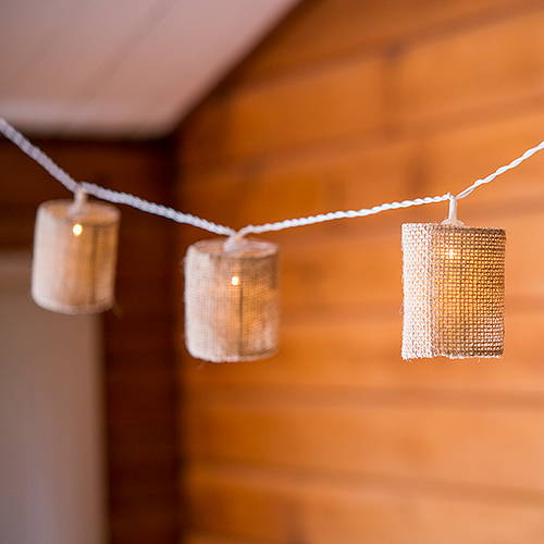 String Of Lights With Natural Burlap Shades - Battery LED (10lights)