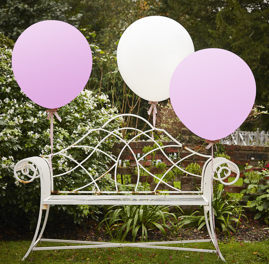 Balóny - Biela a Ružová - Veľké - 90 cm - Vintage Affair (3ks)