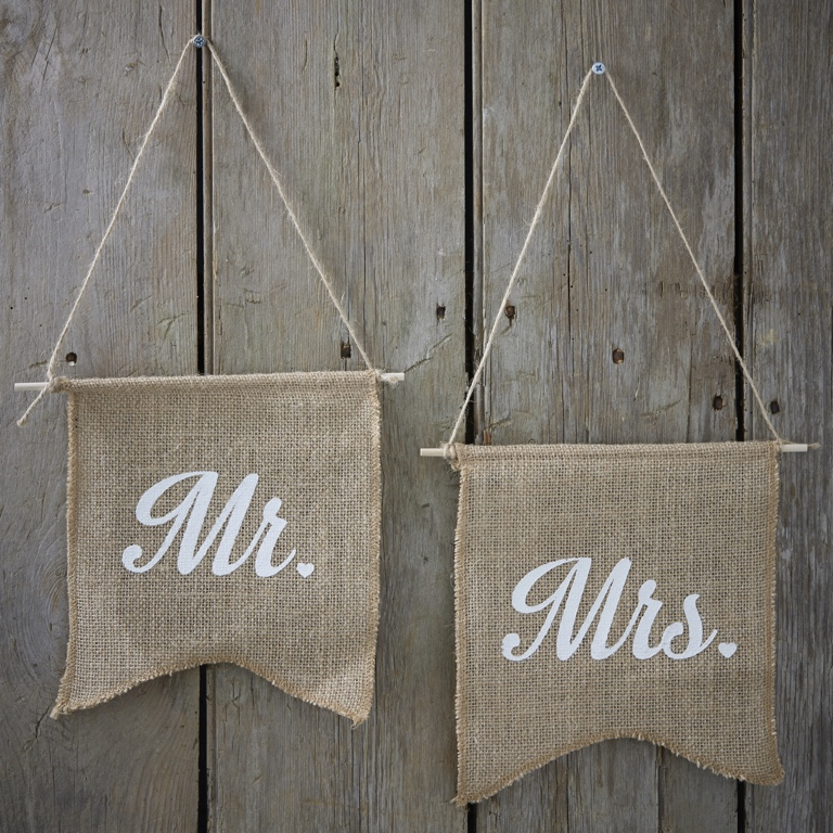 Jutové Vlajky - Mr & Mrs - Vintage Affair (2ks)