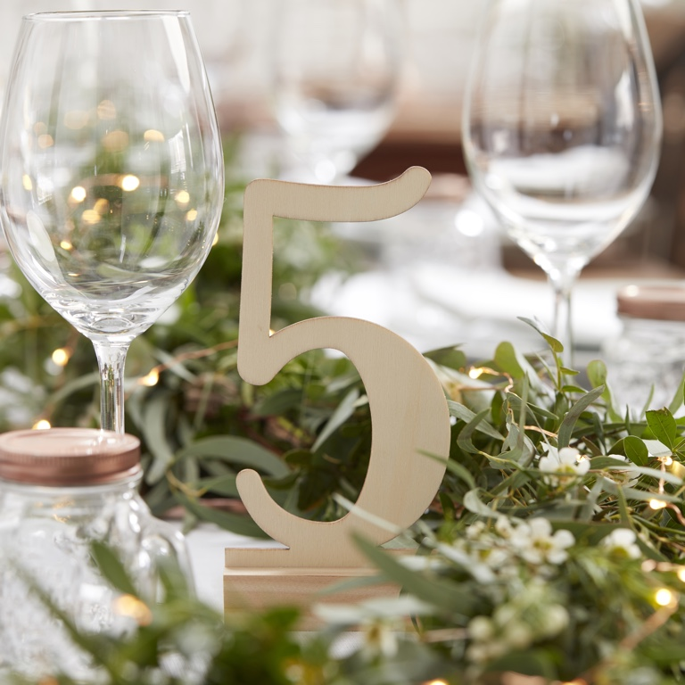 Wooden Table Numbers - Beautiful Botanics (12pcs)
