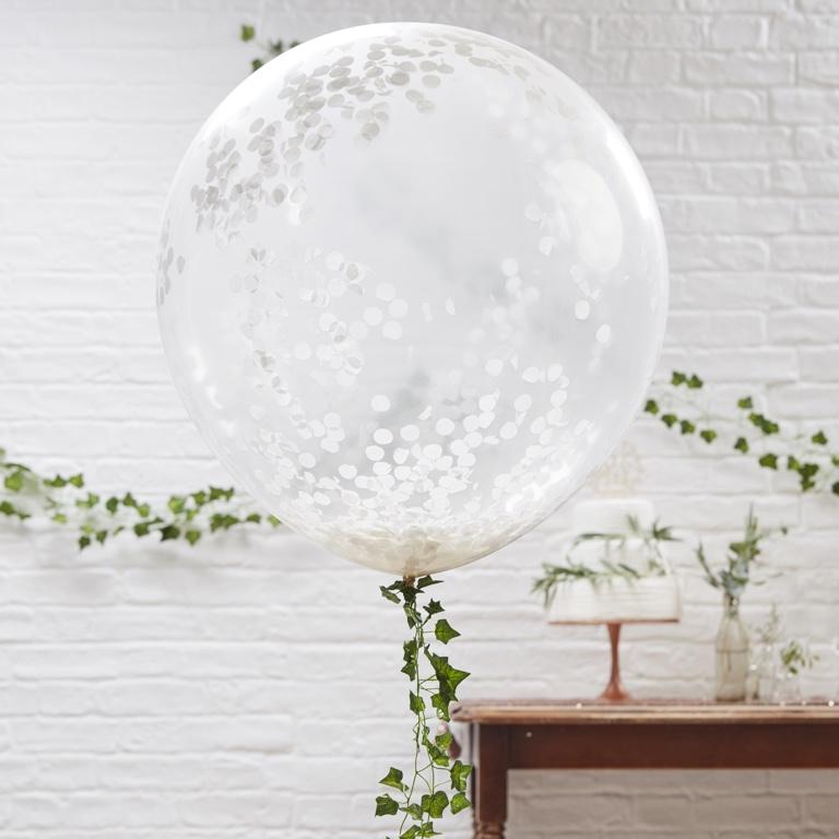 Veľké Konfetové Balóny - Biela - Krásna Záhrada (3ks)