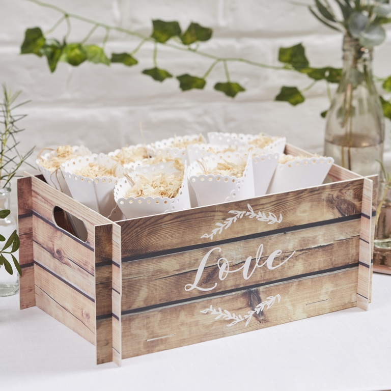 Wooden Effect Card Crate - Beautiful Botanics