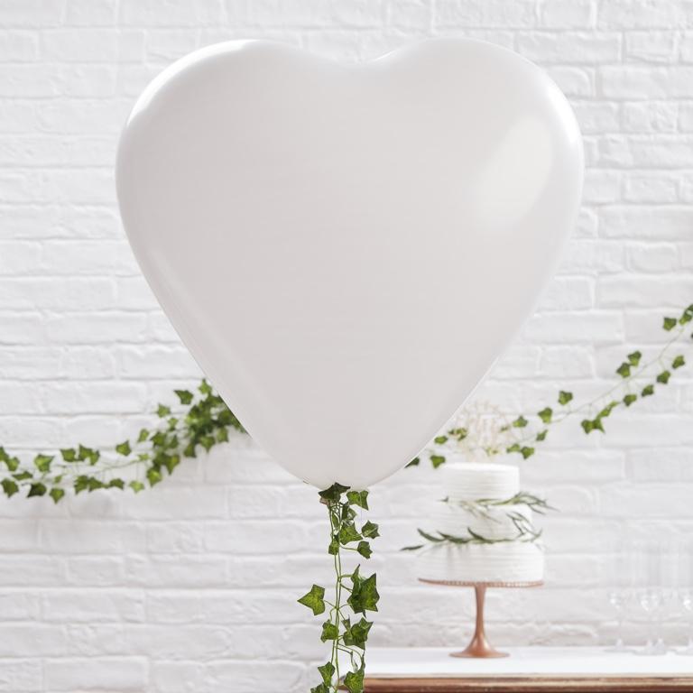 Srdcové Balóny - Veľké - Biela - 90 cm - Krásna Záhrada (3ks)