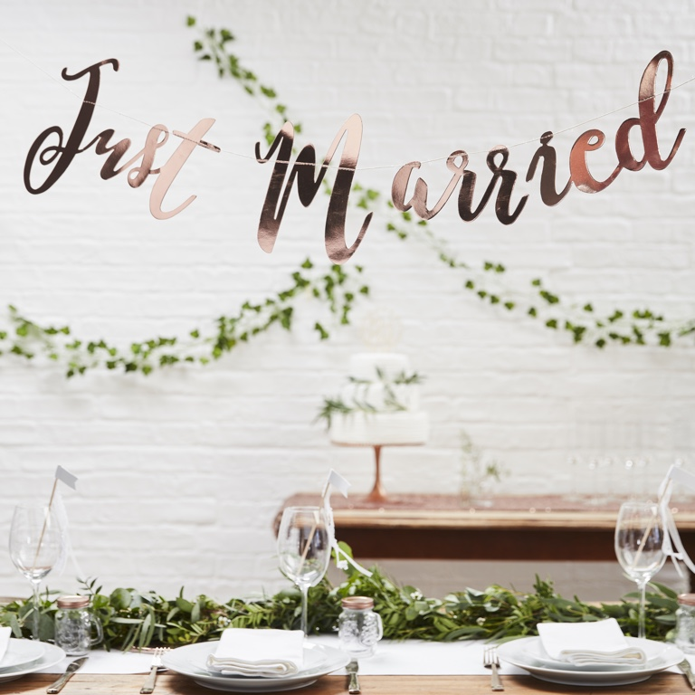 Just Married Bunting Backdrop - Rose Gold - Beautiful Botanics