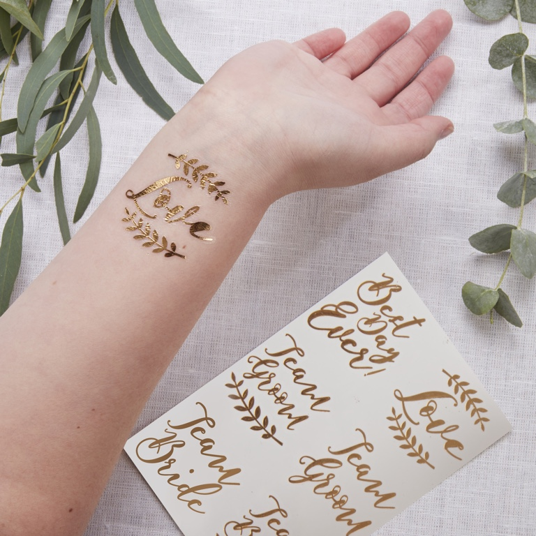 Temporary Wedding Tattoos -Rose Gold - Beautiful Botanics (12pcs)