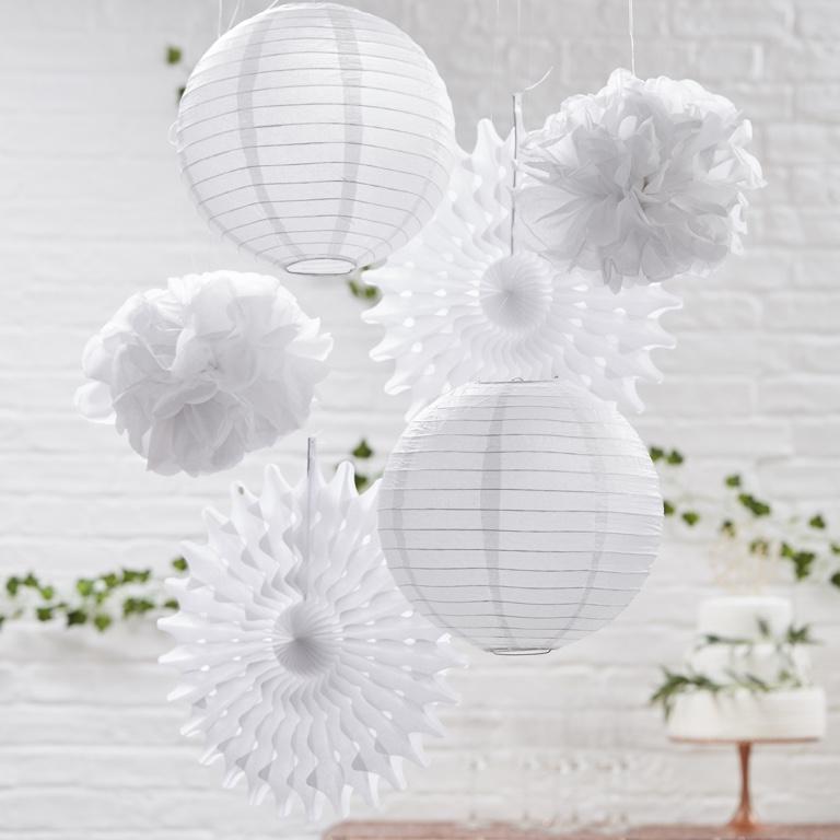 Závesný Dekoračný Set - Biela - Krásna Záhrada (6ks)