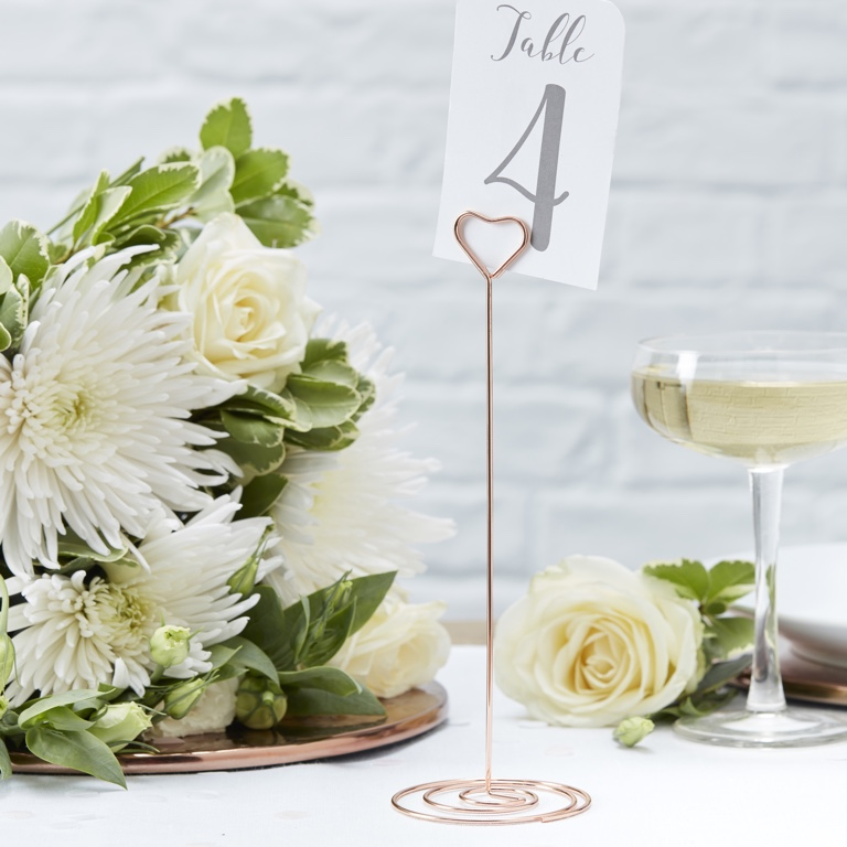 Metal Table Number Stand - Heart - Rose Gold - Beautiful Botanics