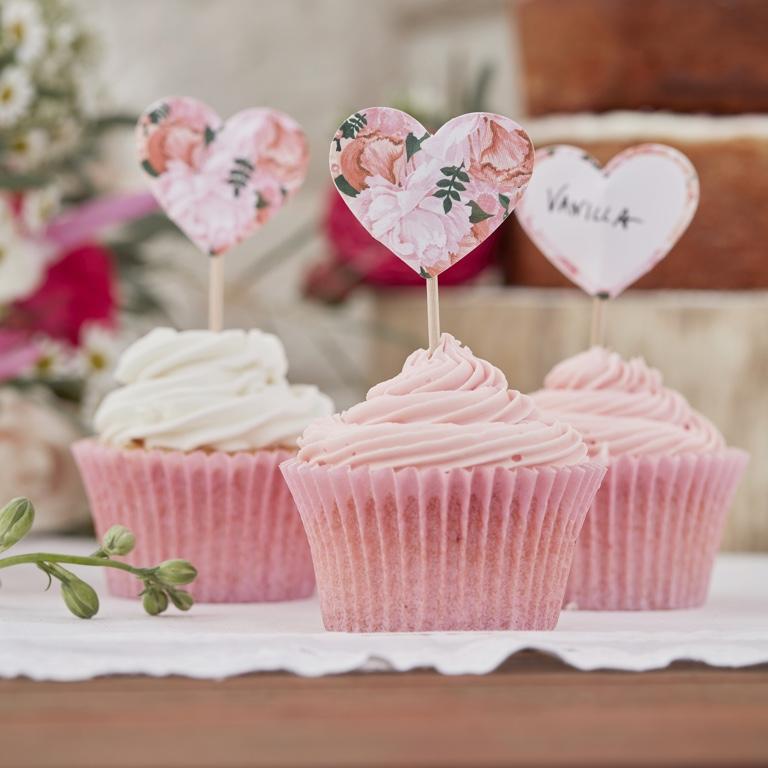 Menovky na Muffiny - Ružové Kvety (10ks)
