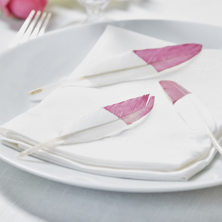 Vtáčie Pierka - Ružová/Biela (10ks)