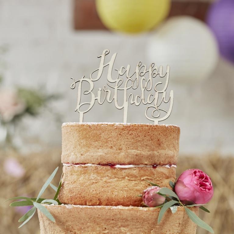 Drevená Ozdoba na Tortu - Happy Birthday - Boho