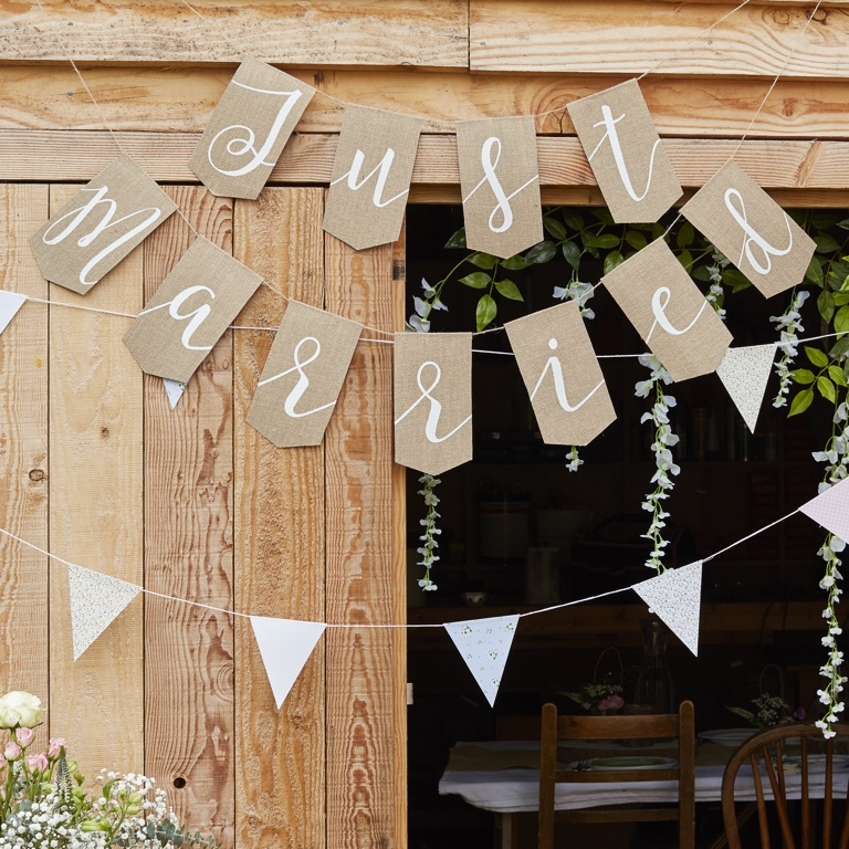 Jutová Girlanda - Just Married - Rustic Country