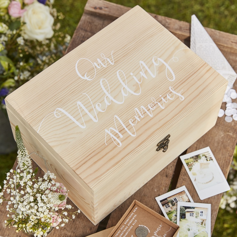 Wooden Memory Box Keepsake - Rustic Country