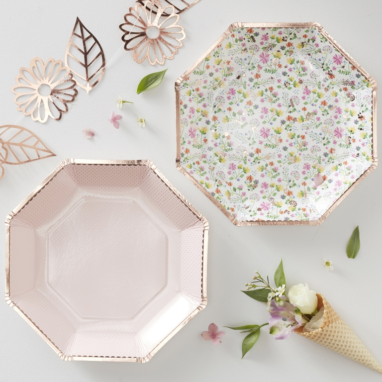Foiled Floral Paper Plates - Rose Gold - Ditsy Floral (8pcs)