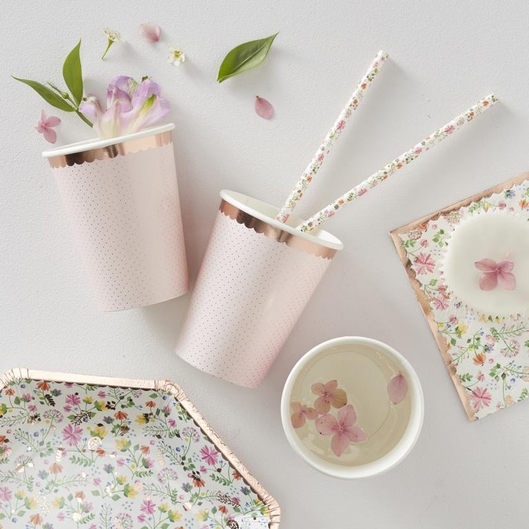 Papierové Poháre - Ružovo Zlatá - Záplava Kvetov (8ks)