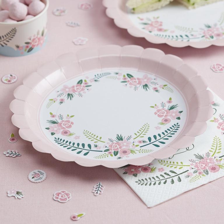 Papierové Taniere - Ružová - Floral Fancy (8ks)