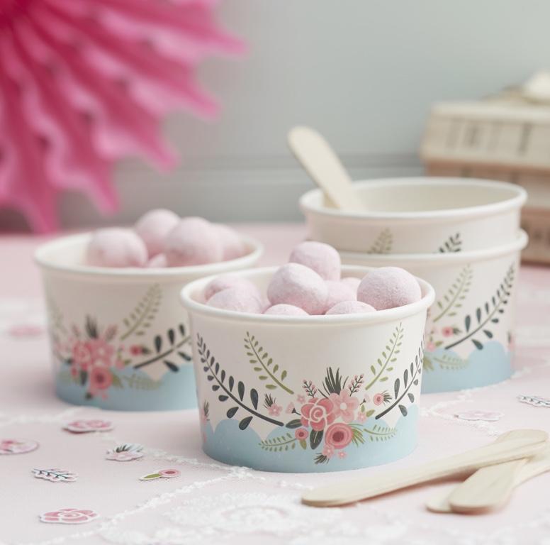 Kelímky na Zmrzlinu s Lyžičkou - Floral Fancy (8ks)