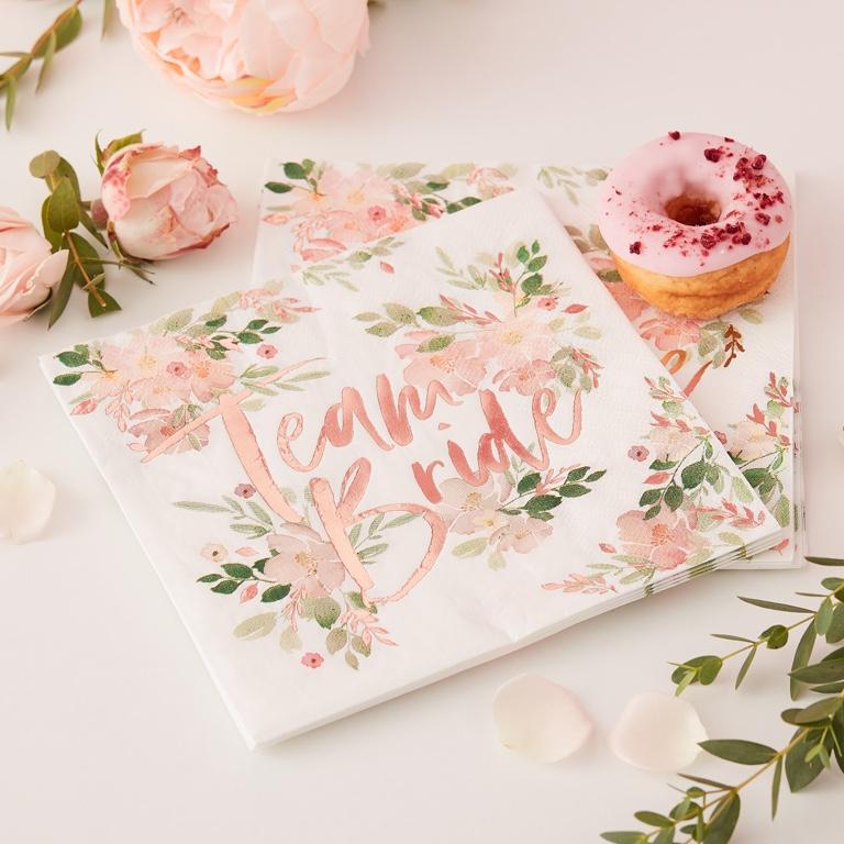 Papierové Servítky - Kvety - Ružovo Zlatá - Team Bride (16ks)