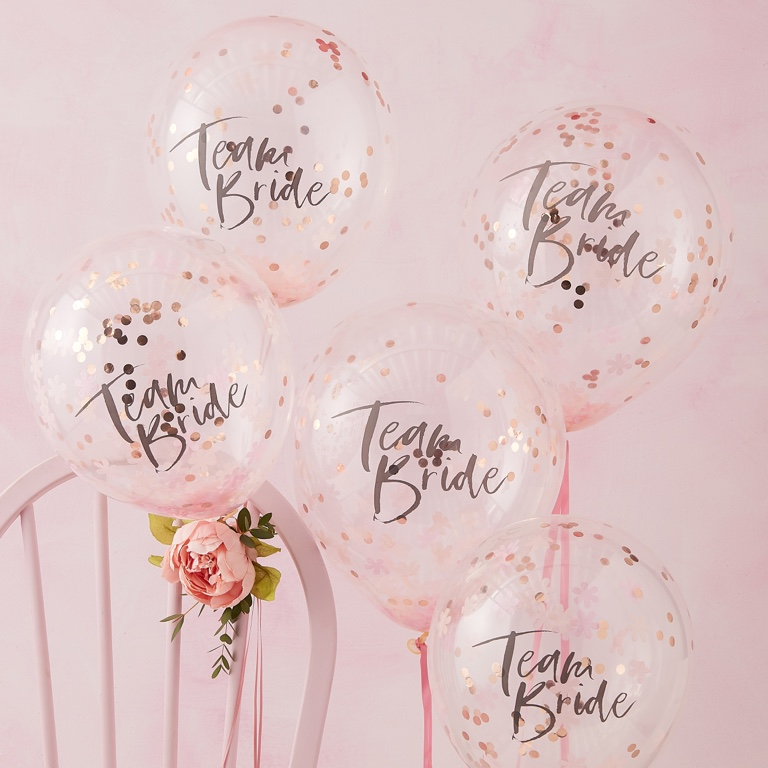 Konfetové Balóny - Ružová (30cm) - Team Bride (5ks)