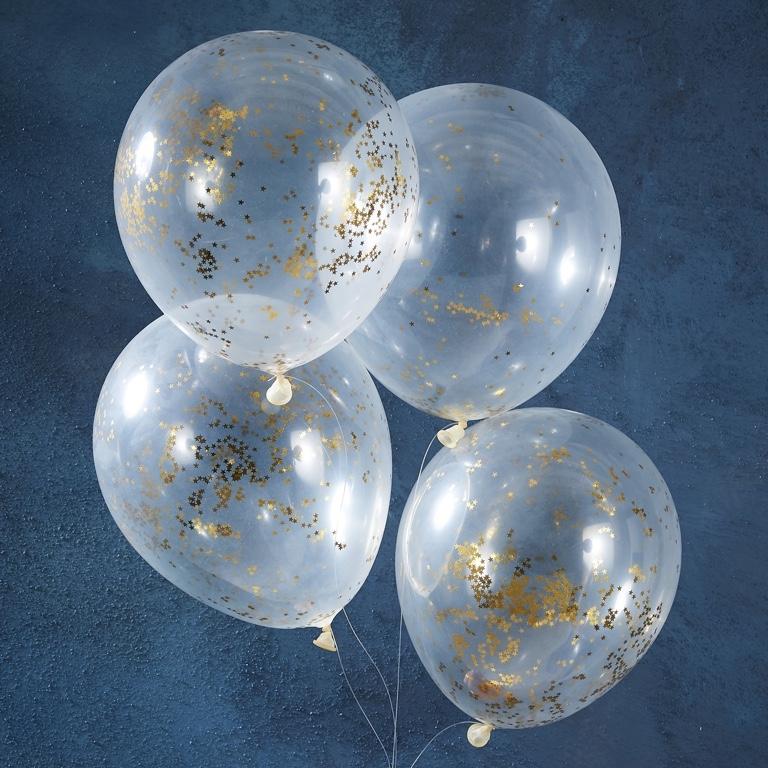 Konfetové Ballóny - Zlatá Trblietavá Hviezda (5ks)