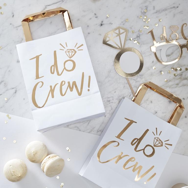 Papierové Tašky s Rúčkou - Zlatá - I Do Crew(5ks)
