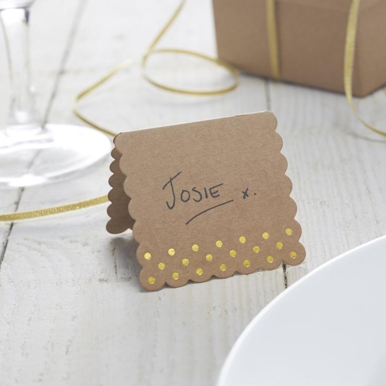Menovky na stoly - Hnedá a Zlatá (10ks)