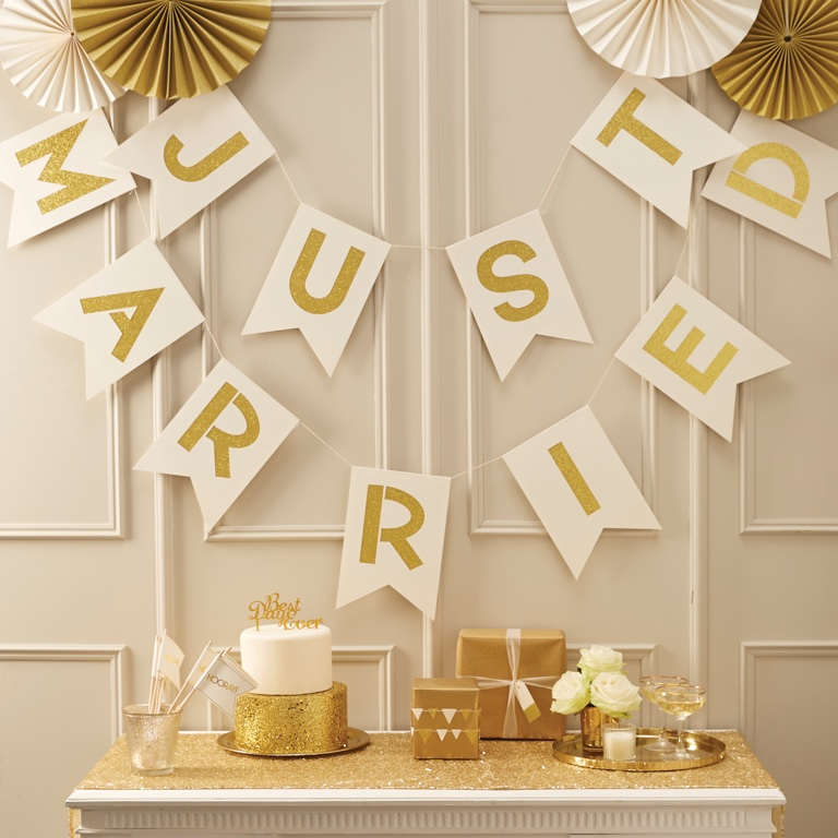 Just Married Ivory & Gold Bunting - Metallic Perfection