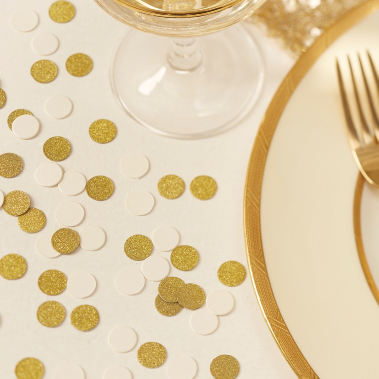 Konfety - Trblietavé Kruhy - Ivory a Zlato - Zlatá (14g)