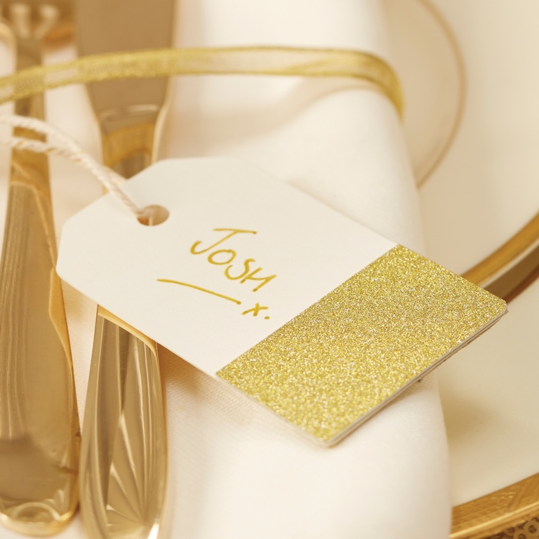 Glitter Luggage Tags - Ivory & Gold (10pcs)