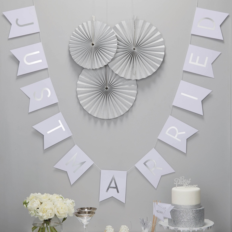 Just Married Foiled Bunting - White & Silver - Metallic Perfection