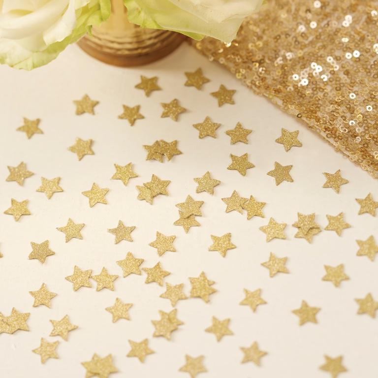 Konfety - Trblietavé Hviezdy - Ivory a Zlato - Zlatá (14g)