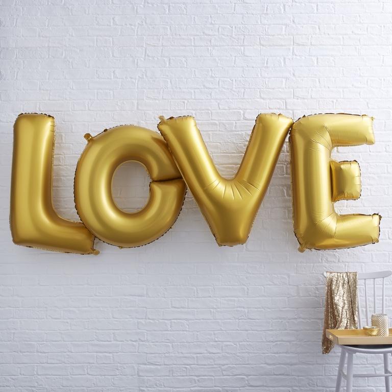 XL Foliové Balóny - Love - Zlatá - Ivory a Zlato (4ks)