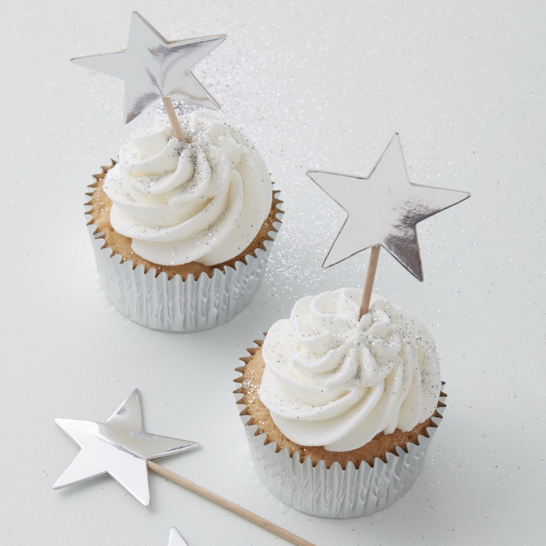 Ozdoba na Muffiny - Hviezda - Strieborná (10ks)