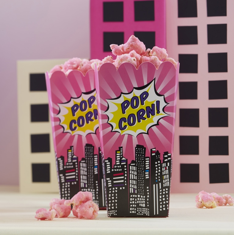 Krabička na Popcorn - Superhero Party - Ružová (8ks)