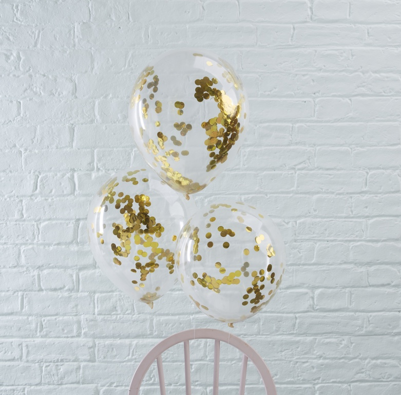 Konfetové Balóny - 30 cm - Zlatá (5ks)
