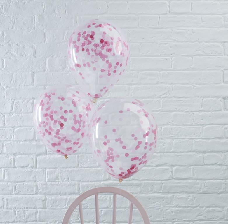 Konfetové Balóny - 30 cm - Ružová (5ks)