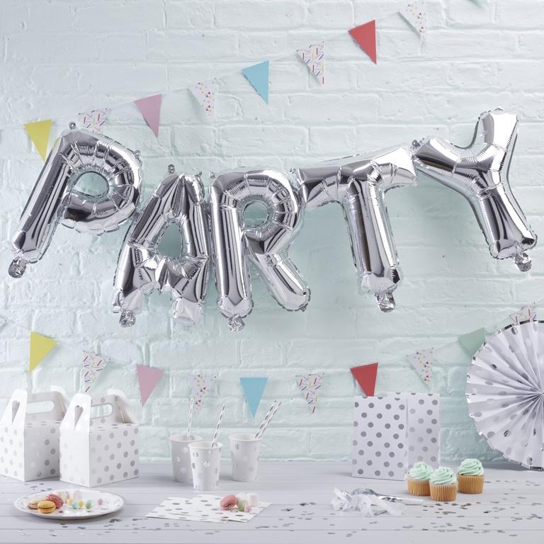 Foliové Balóny - PARTY - Strieborná - Pick & Mix