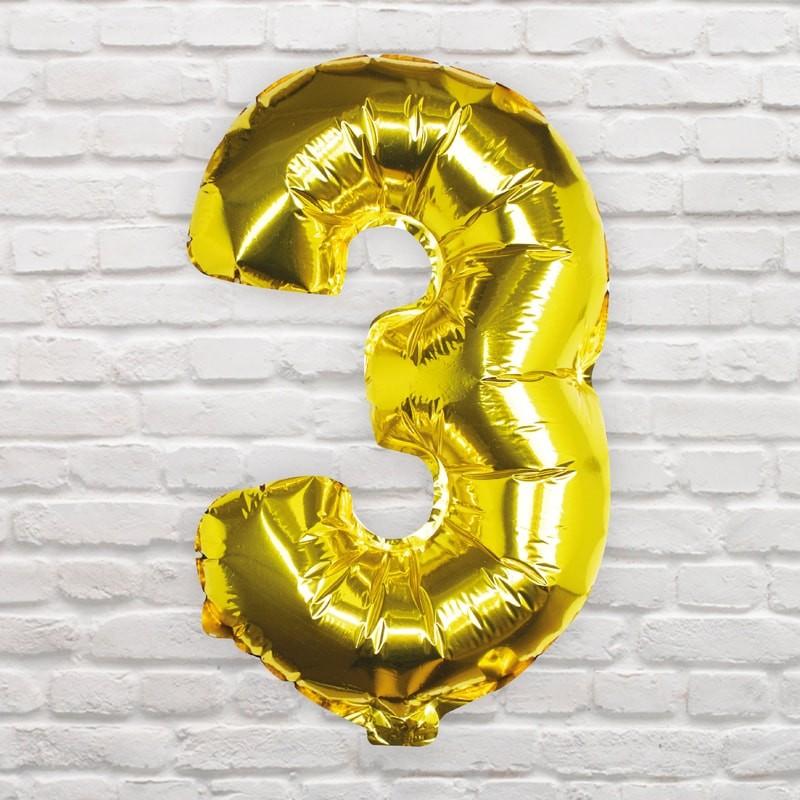 Foliový Balón - 3 - Zlatá (40cm)