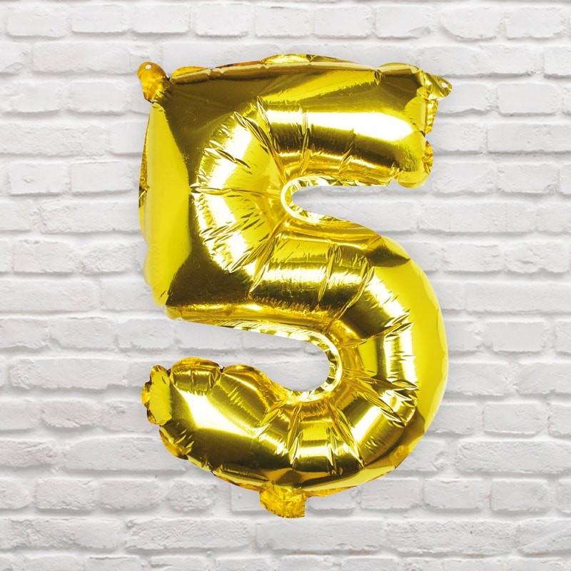 Foliový Balón - 5 - Zlatá (40cm)