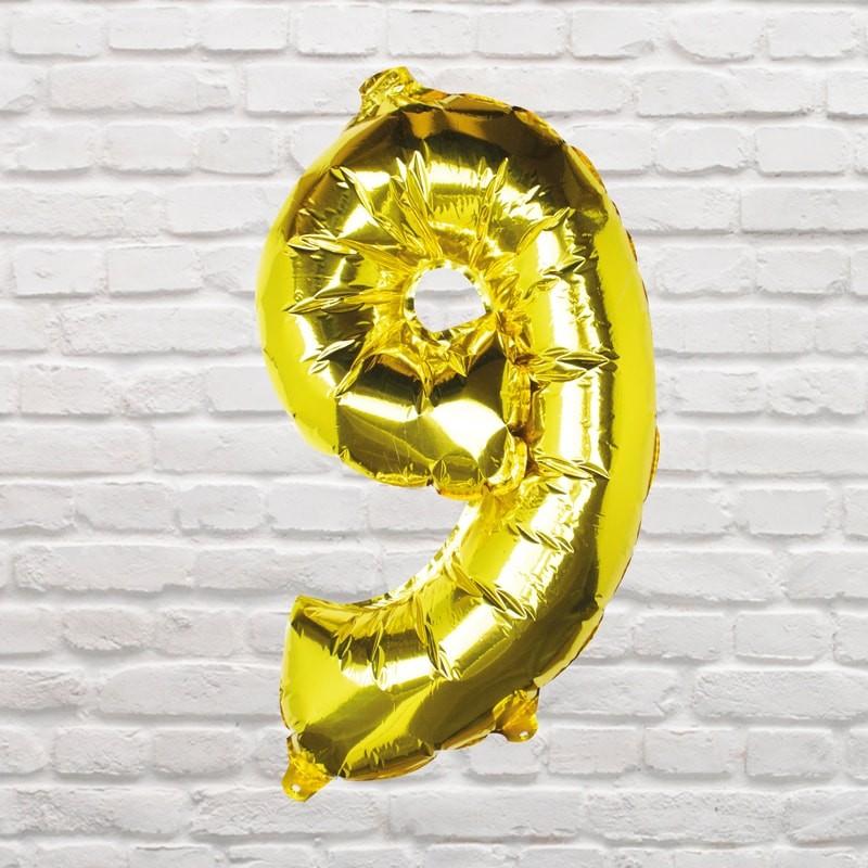 Foliový Balón - 9 - Zlatá (40cm)