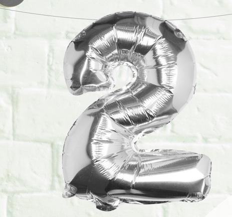 Foliový Balón - 2 - Strieborná (40cm)